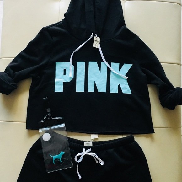 New Victoria/'s Secret PINK Cropped Pullover Hoodie Classic Short Set Great Gift
